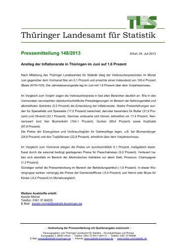 Anstieg der Inflationsrate in Thüringen im Juni auf 1,6 Prozent