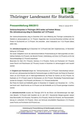 Verbraucherpreise in Thüringen 2012 weiter auf hohem Niveau Die ...