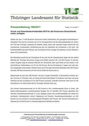 Grund- und Gewerbesteuerhebesätze 2010 für alle Kommunen ...