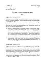 ¨Ubungen zur Vorlesung Klinische Studien Blatt 1 - Fakultät Statistik