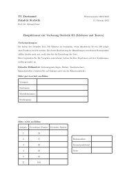 TU Dortmund Fakultät Statistik Hauptklausur zur Vorlesung Statistik III