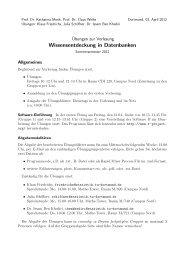 Wissensentdeckung in Datenbanken - Fakultät Statistik - TU Dortmund