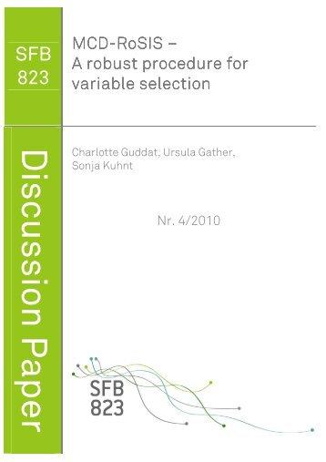 MCD-RoSIS – A robust procedure for variable selection - TU Dortmund
