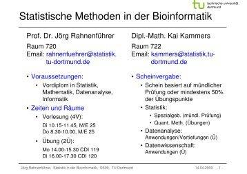 Statistische Methoden in der Bioinformatik - TU Dortmund