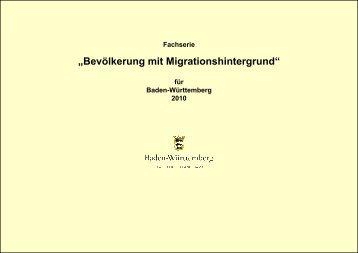 Bevölkerung mit Migrationshintergrund für Baden-Württemberg 2010
