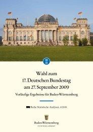 Wahl zum 17. Deutschen Bundestagam 27. September 2009 ...