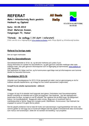 Referat AU Basis 18. april 2012 - Kartverket