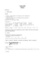 Statistics 4846b Assignment 3 Solutions Question 1 a. ANOVA table ...