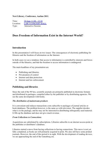 Does Freedom of Information Exist in the Internet ... - Statsbiblioteket