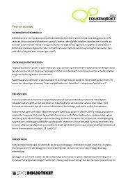 POSTER SESSION - Statsbiblioteket