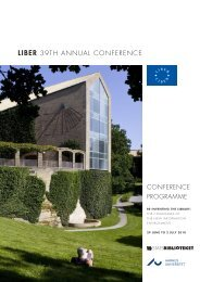 LIBER 39TH ANNUAL CONFERENCE - Statsbiblioteket