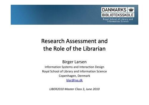 Presentation by Birger Larsen - Statsbiblioteket