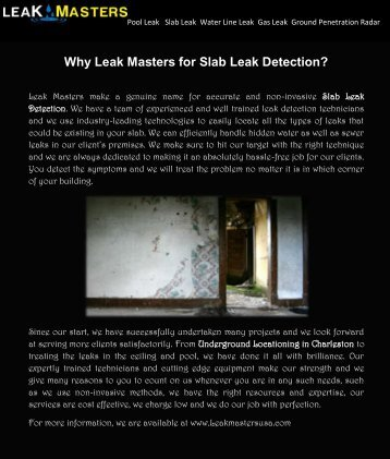 Leak Masters for Slab Leak Detection