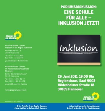Einladung Inklusion.indd - Stattelternrat-hannover.de