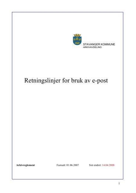 Retningslinjer For Bruk Av E Post Stavanger Kommune