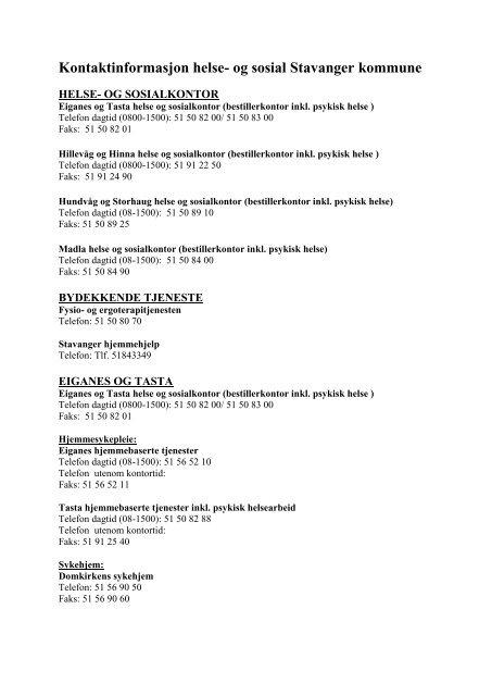Kontaktinformasjon For Sus Stavanger Kommune