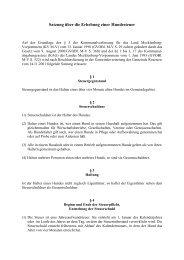 Satzung über die Erhebung einer Hundesteuer