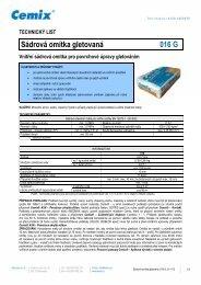 Technický list sadrové omitky gletované cemix 016 - STAVOMARKET