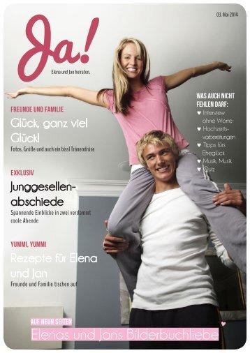 """Ja-Worte Hochzeitsmagazine - Beispielheft """"Ja! Elena und Jan heiraten"""""""