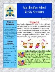 St. Boniface School Weekly Newsletter - St. Boniface Church