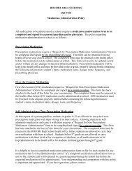 ROCORI AREA SCHOOLS ISD #750 Medication Administration ...