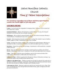 Descriptions for Volunteer Opportunities - St. Boniface Church