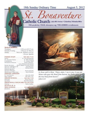 18th Sunday Ordinary Time August 5, 2012 - St. Bonaventure ...