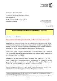 ESt-Kurzinfo des FM SH zur steuerrechtlichen Beurteilung