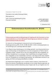 ESt-Kurzinfo des FM SH zur einkommensteuerrechtlichen ...