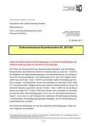 ESt-Kurzinfo des FM SH zur steuerlichen Behandlung