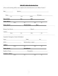 2006-2007 Athlete Registration Form All new and returning athletes ...