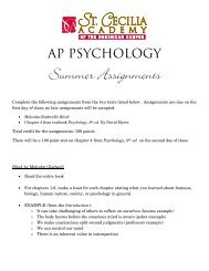 AP Psychology Summer Assignments - St. Cecilia Academy