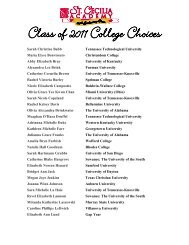 Class of 2011 College Choices - St. Cecilia Academy