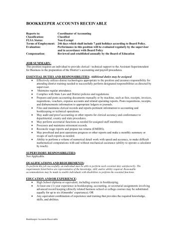 Bookkeeper - Accounts Receivable - City of St. Charles School District