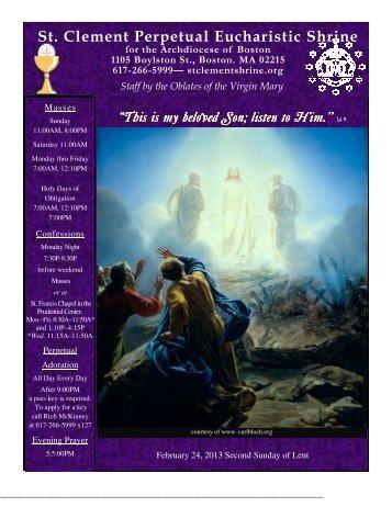 February 24, 2013 - St. Clement Eucharistic Shrine