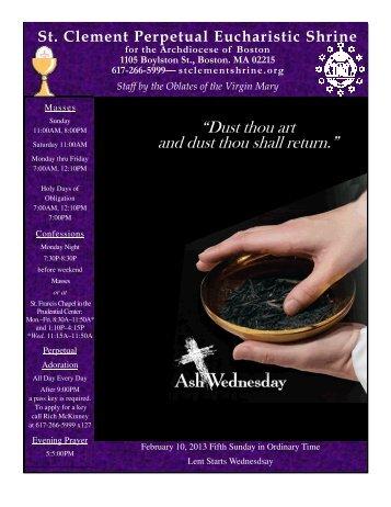February 10, 2013 - St. Clement Eucharistic Shrine