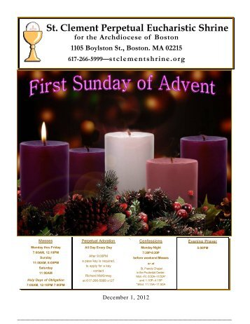 December 2, 2012 - St. Clement Eucharistic Shrine
