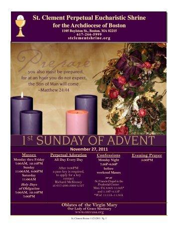 November 27, 2011 - St. Clement Eucharistic Shrine