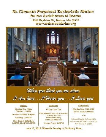 July 15, 2012 - St. Clement Eucharistic Shrine