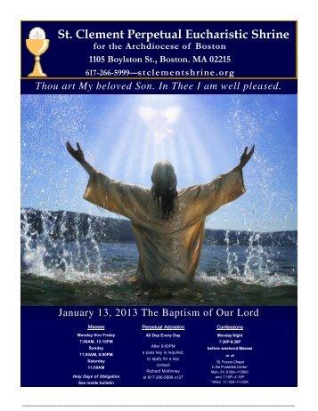 January 13, 2013 - St. Clement Eucharistic Shrine