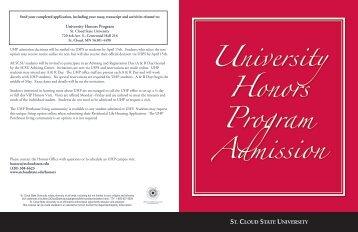 University Honors Program Admission - St. Cloud State University
