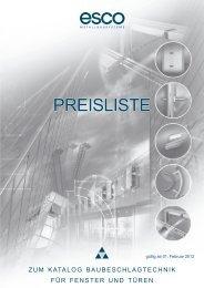 PREISLISTE - esco Metallbausysteme Gmbh