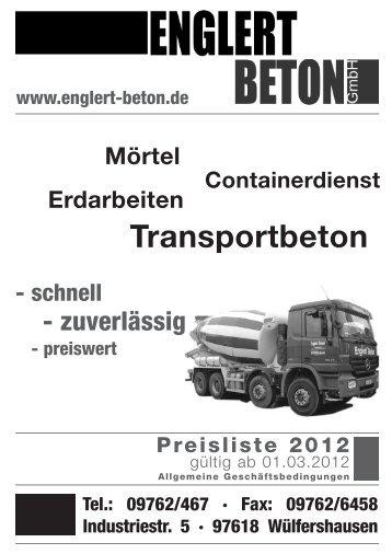 Englert Preisliste 2012 - bei ENGLERT-BETON