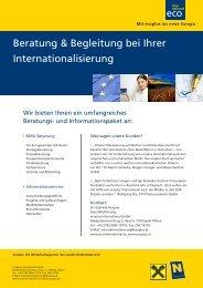 Infoblätter zu Förderungen - Ecoplus International GmbH