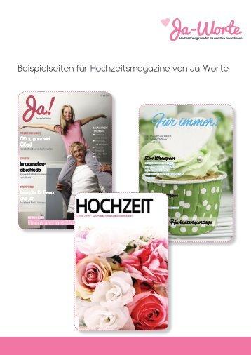 Ja-Worte Hochzeitszeitungen - ausgewählte Beispielseiten
