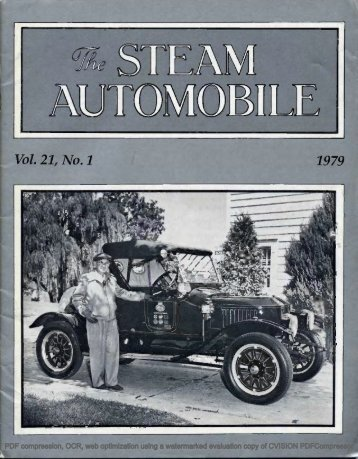 Vol. 21, No. 1, 1979, 40pp - Steam Automobile Club of America