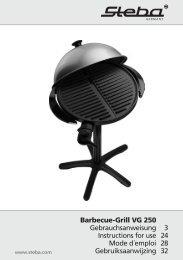 Barbecue-Grill VG 250 Gebrauchsanweisung 3 Instructions ... - Steba