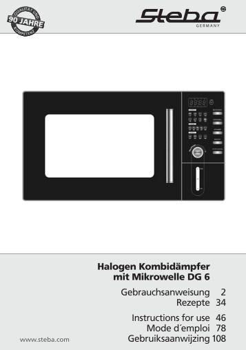 Halogen Kombidämpfer mit Mikrowelle DG 6 ... - Steba