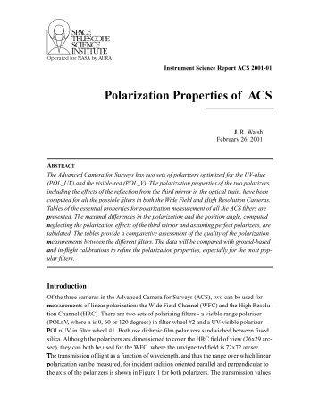 Polarization Properties of ACS