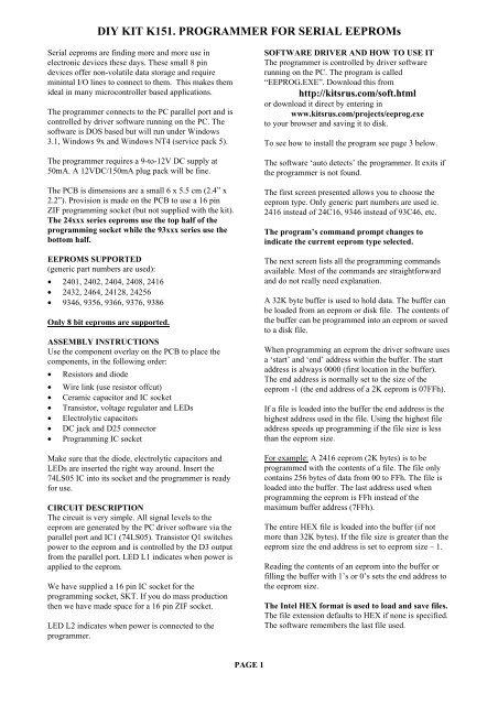DIY KIT K151  PROGRAMMER FOR SERIAL EEPROMs - Kitsrus